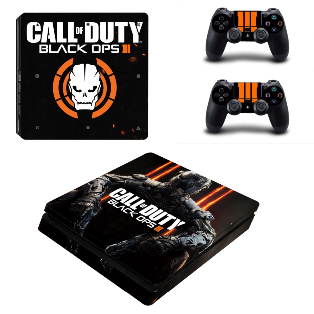 For Playstation 4 slim stickers PS4 Slim Console and 2 controller skins Sticker - CALL OF DUTY BLACK OPS III