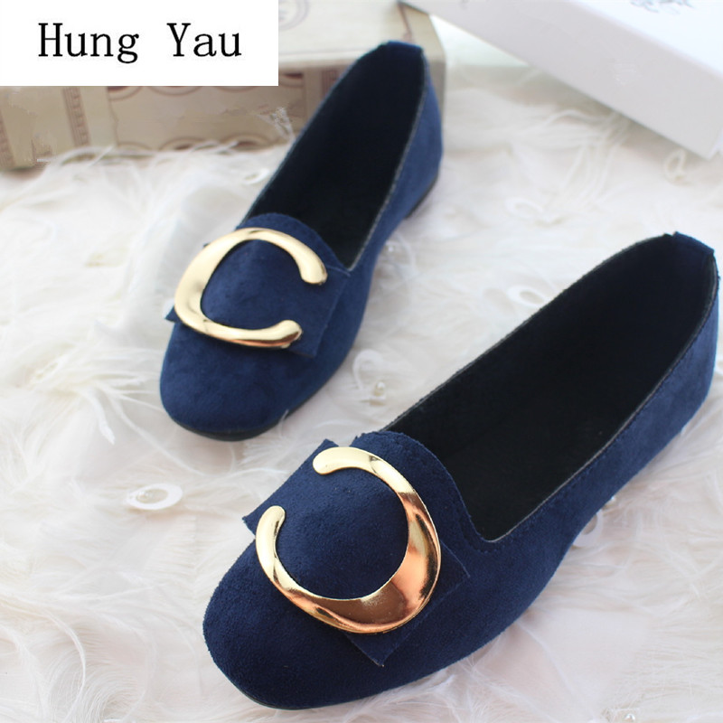 Big Size Women Flats Shallow Candy Color Shoes Woman Loafers Autumn Winter Fashion Sweet Flat Casual Comfortable Plus Size 35-42(China)
