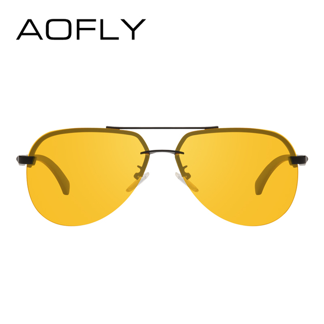 AOFLY New Arrival Yellow Polarized Rimless Sunglasses Men Women Night Vision Goggles Driving Glasses Metal Legs Eyewear AF8053 2