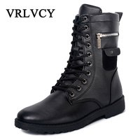 Winter Warm Vintage Motorcycle Boots Male Fur Plush Martin Shoes Men Snow Ankle High Top Boots