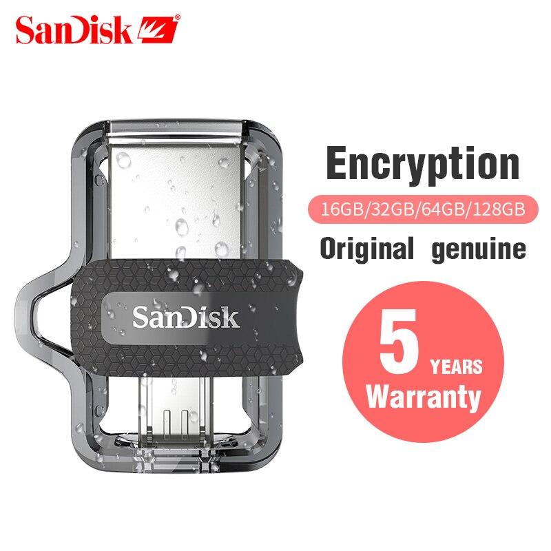 Original Sandisk SDDD3 Extrema alta velocidade 150 M/S Dual OTG USB Flash Drive GB 128GB GB 16 32 64GB Pen Drive USB3.0 PenDrive Genuine