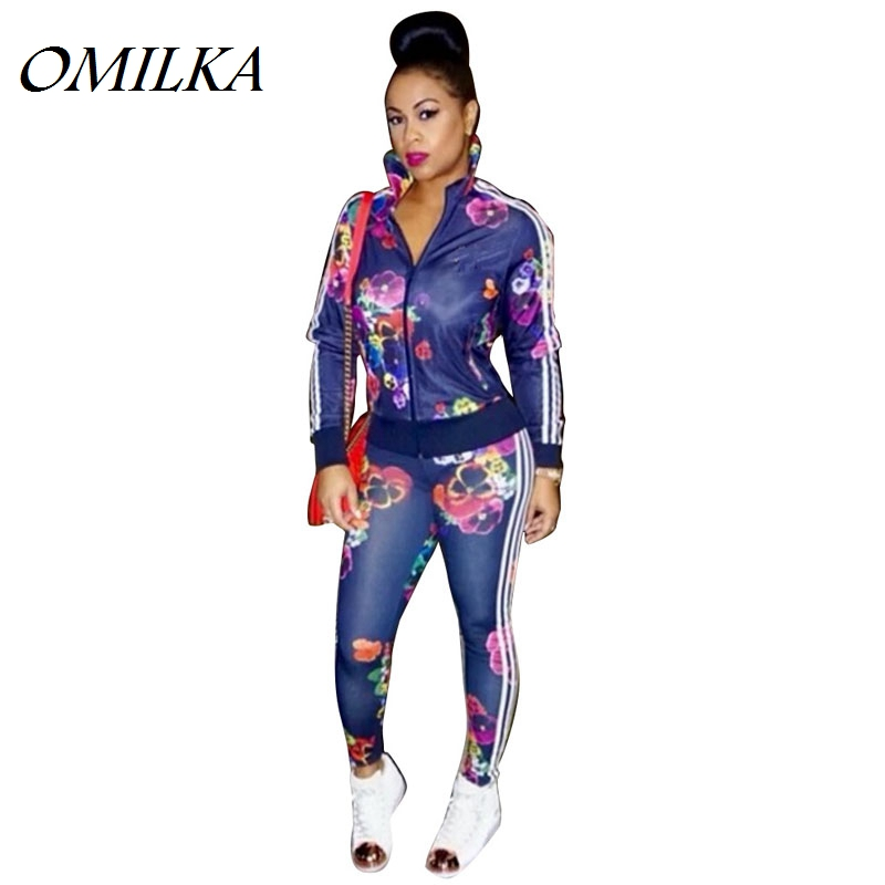OMILKA 2 Piece Set Women 2017 Autumn Fashion Flower Printed Tracksuits Sets Sexy Club Party (Sweatshirt + Pant) Sweatsuit