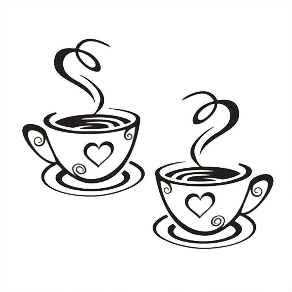 Art Decal Kitchen PVC 2017 Wall Stickers Pub Tea Creative Coffee Cups Home Cafe Restaurant Decoration New Vinyl