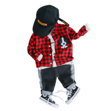 Baby boy cartoon long sleeve plaid shirt imitation jeans two-piece baby girl spring suit baby boy clothes купить недорого в Москве