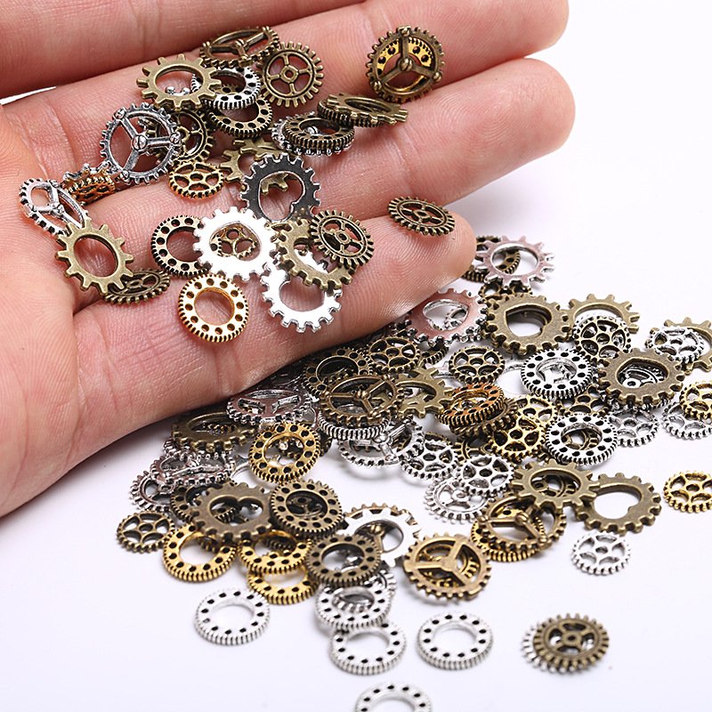 20/40pcs 8-12mm Metal Mixed Mini Clock Gear Charms Beads Handmade DIY For Bracelet Pendant Crafts Jewelry Making Findings