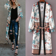 Womens Made Of High Quality Materials Belt Bandage Shawl Print Kimono Cardigan Top Cover Up Blouse B