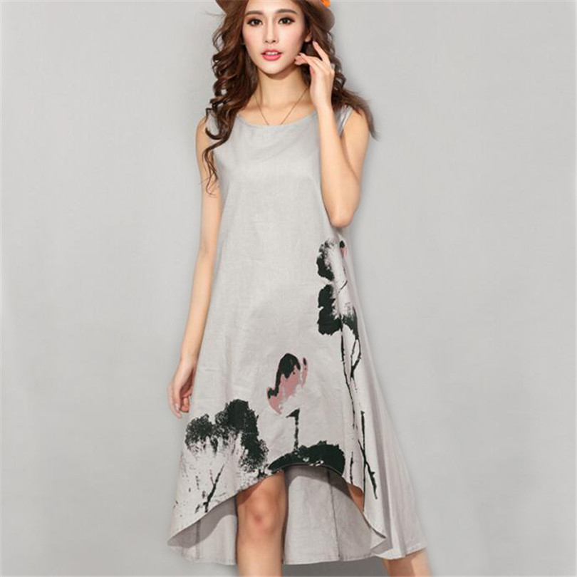 9b2dca24318 M 6XL Women Summer Dress Vintage Cotton Linen Dress Ladies Loose Casual  Dresses Sleeveless Print Vestidos Oversize Clothing A770-in Dresses from  Women s ...
