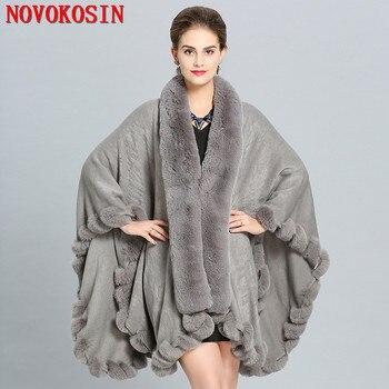 2018 Women Winter Shawl Fake Fox Fur Big Long Collar Loose Poncho Capes Cardigan Coat Plus Size Cloak White Black Pashmina - discount item  28% OFF Scarves & Wraps