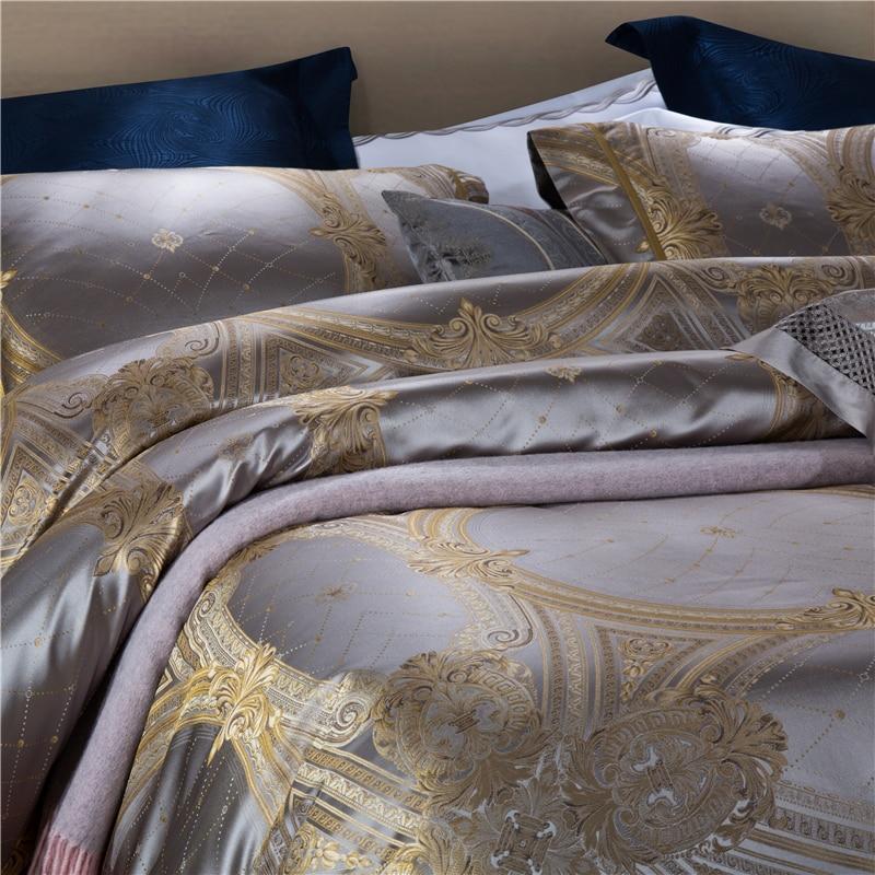 King Size 28 4 Momme Seda Amoreira Conjuntos de Peças de Cama Fios Tingidos Jacquard de Seda Quilt Cover Folha de Cama Fronha dourada Barroca - 5
