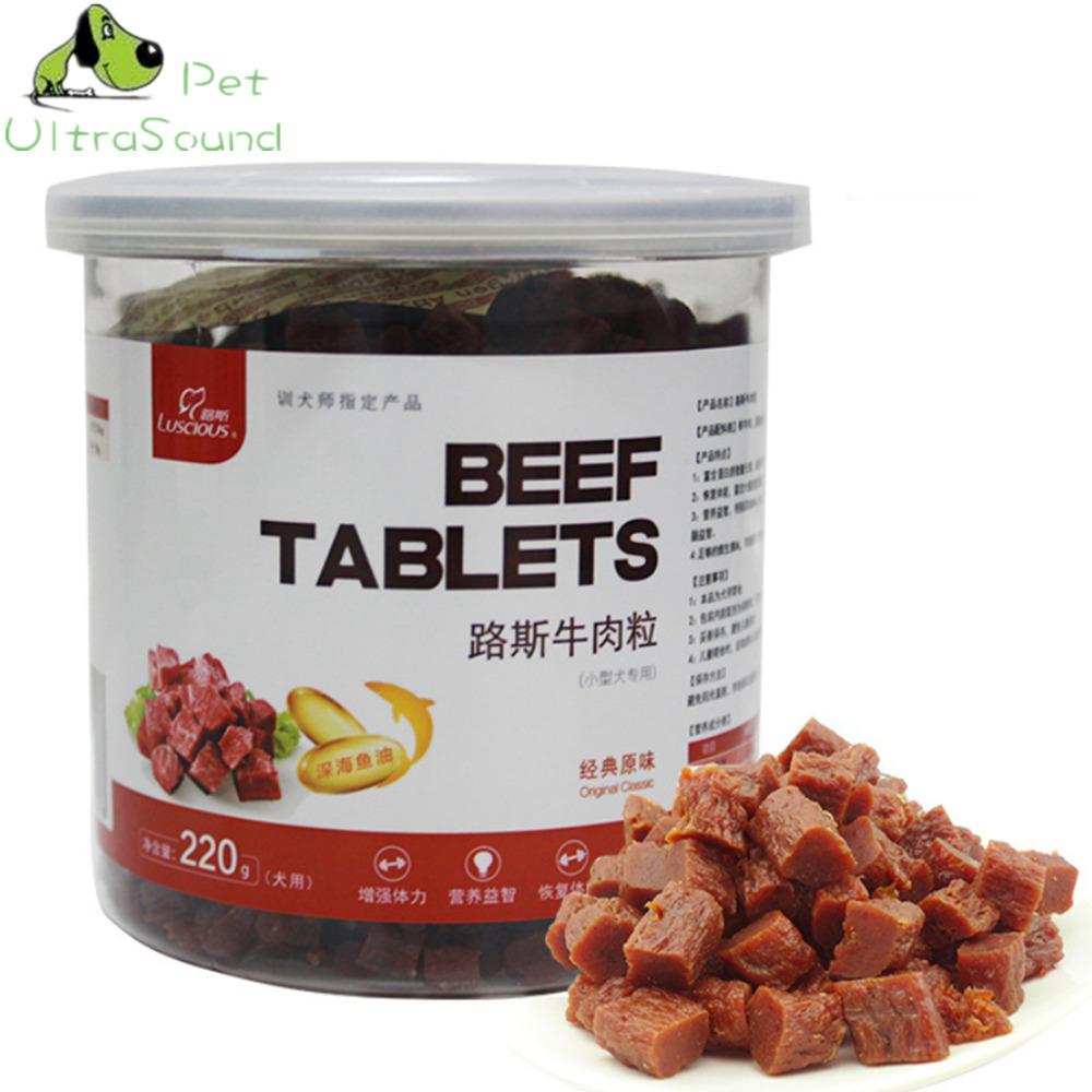 220g 100% Natural Dry Pet Dog Food Snack Chews Treats Training Beef Granules Twist Sticks For Small Medium Pet Classic Food