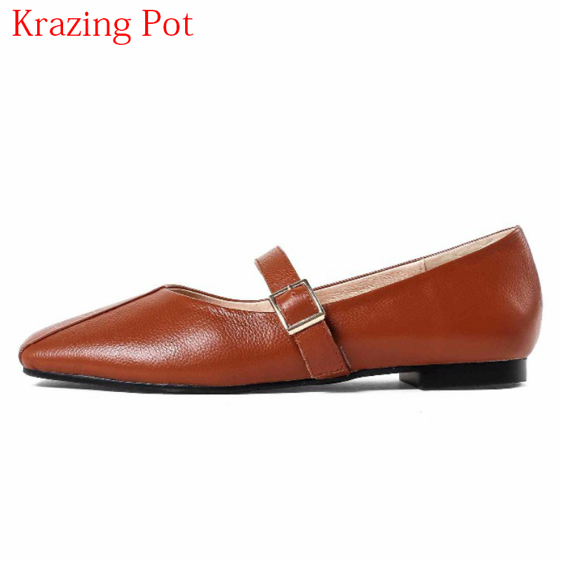2018 New Arrival Brand Spring Shoes Metal Buckle Women Flats Square Toe Soft Leather Elegant Shallow Slip on Lazy Mary Janes L78 new arrival soft leather shoes women flats fashion design square toe comfortable women s flats office ladies brand shoes