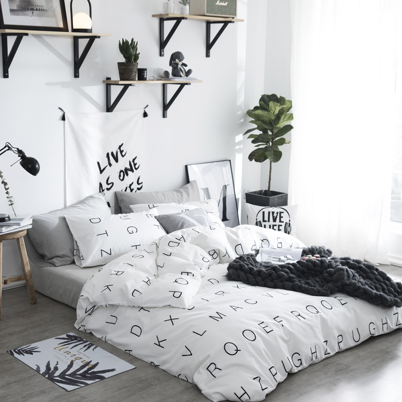 White Black Simple Style Bed Sheet Set Chinese Bedding Sets Cotton Letter Duvet Quilt Cover Pillowcase Bedclothes Home Textiles