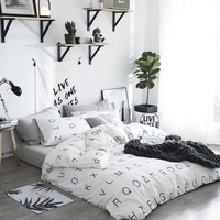 White black simple style bed sheet set chinese bedding sets Cotton letter duvet Quilt cover pillowcase bedclothes Home textiles
