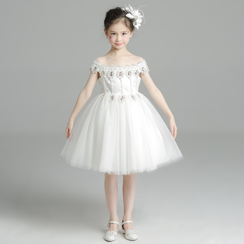 kids dresses for girls wedding Lace White dress ceremony girl child wedding Princess Dress party dresses for girl evening White