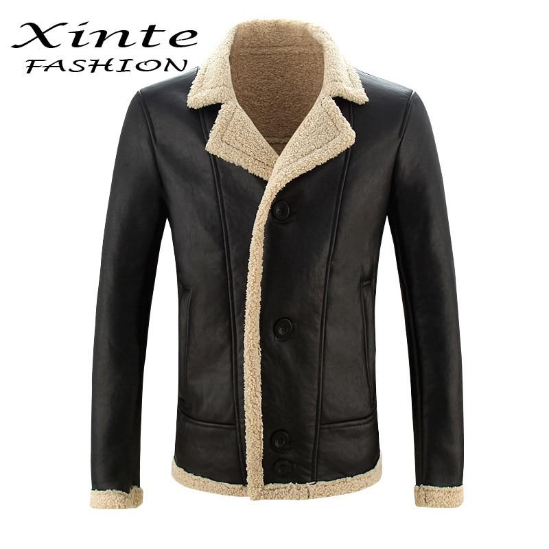 2017 New Arrival Men Leather Jacket Lamb Wool Fur Coat Outwear Garment Winter Warm Thick