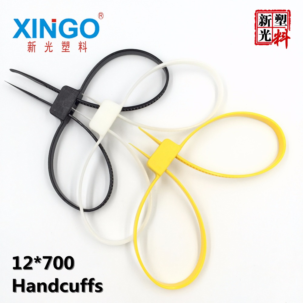 10Pcs/Lot 12mmx700mm 12x700 12*700 plastic police handcuffs Double Flex Cuff Disposable Handcuffs zip tie Nylon cable ties
