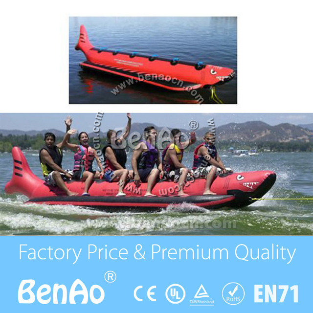 B004 Free shipping 6 Passenger In Line Banana Boat /inflatable red shark boat/inflatable flyfish banana boat for water games