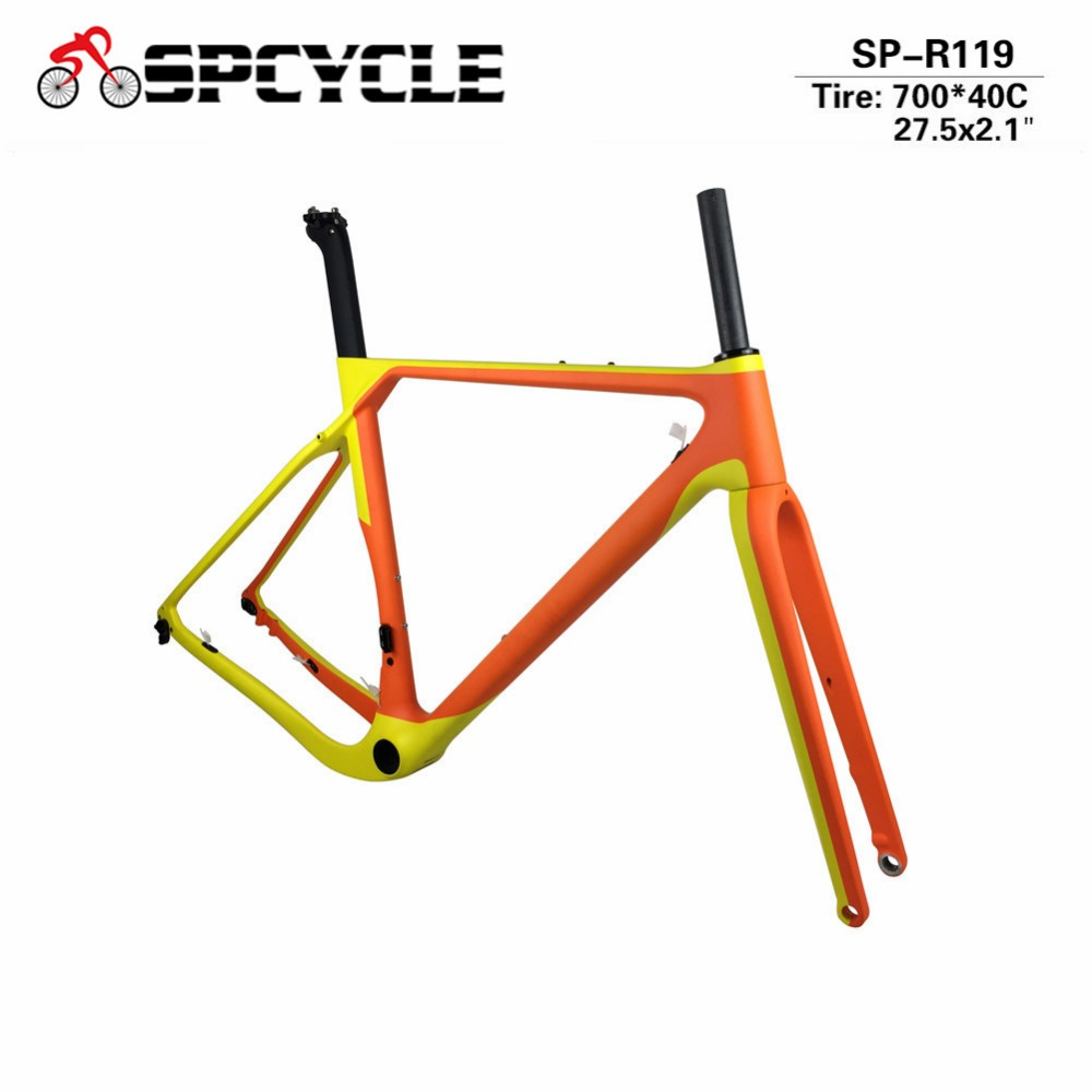 Spcycle 2018 Aero Carbon Road MTB Bike Frame Cyclocross Bicycle Frame Disc Bike Carbon Gravel Frame Thru Axle Or QR Available