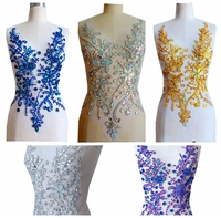 hand made 5 colour Rhinestones applique on mesh sew on crystal patches trim 50*30cm for dress back