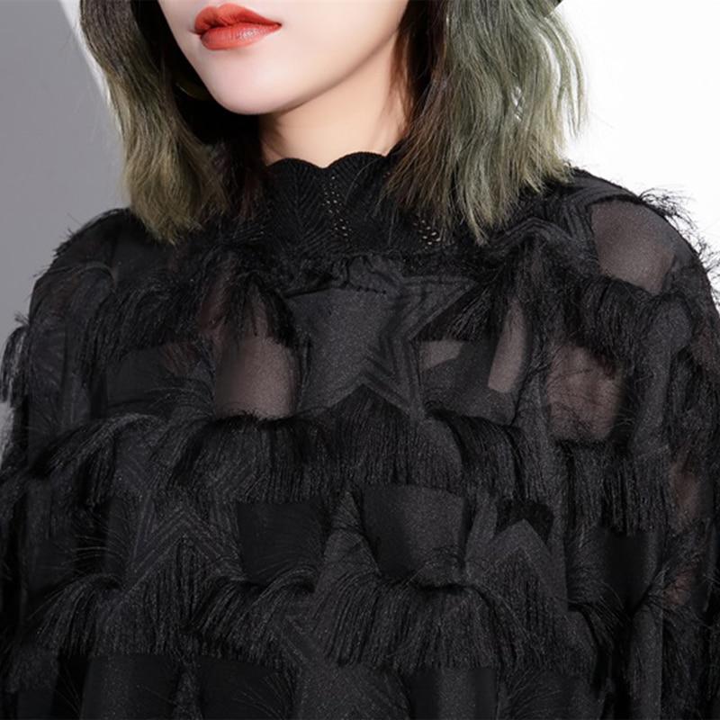 Stand Collar Long Sleeve Black Loose Dress 6