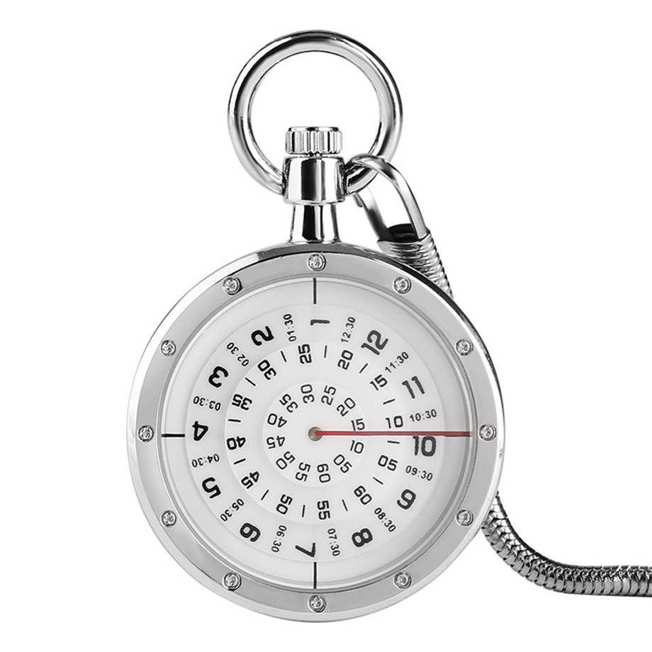 Minimalism Three-layer Second Disk Serpentine Design Hollow Movement Quartz Pocket Watch Pendant Gift With Chain Pocket Watches