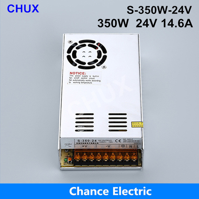 350W 24V Switching power supply 14.6A Single Output 220V Input S-350W-24V With Fan Regulate AC to DC Led Switch Power single switching switch power supply output 3 1a 24v input 115 230 vac co2 laser led