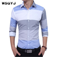 WSGYJ Brand 2017 Fashion Male Shirt Long Sleeves High Quality Hit Color Stripes Casual Shirt Mens