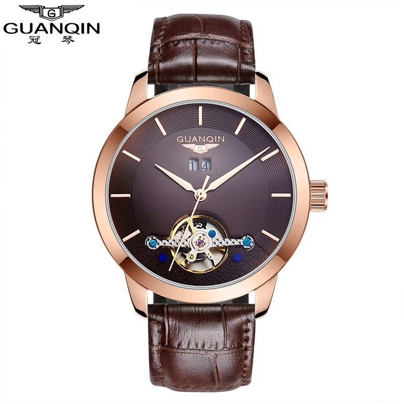 2018 GUANQIN Mens Watches Men Tourbillon Automatic Mechanical Watches Leather Strap Waterproof Calendar Wristwatches Male Clock guanqin mechanical watches wen 2018 leather strap clock men waterproof wristwatches tourbillon automatic rectangle wrist watch