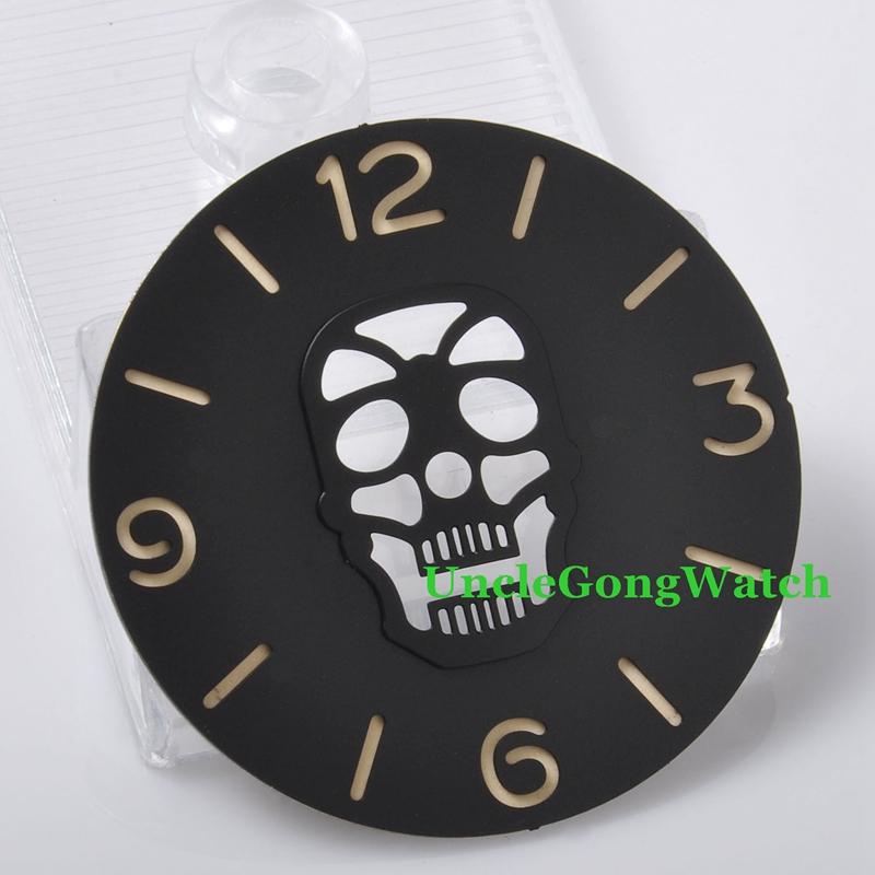 Watch Parts, Parnis 38.84mm Black Skull Sterile Dial Fit for ETA 6497 6498 Movements, Watches Part Watchmaking DIY D38.84SW