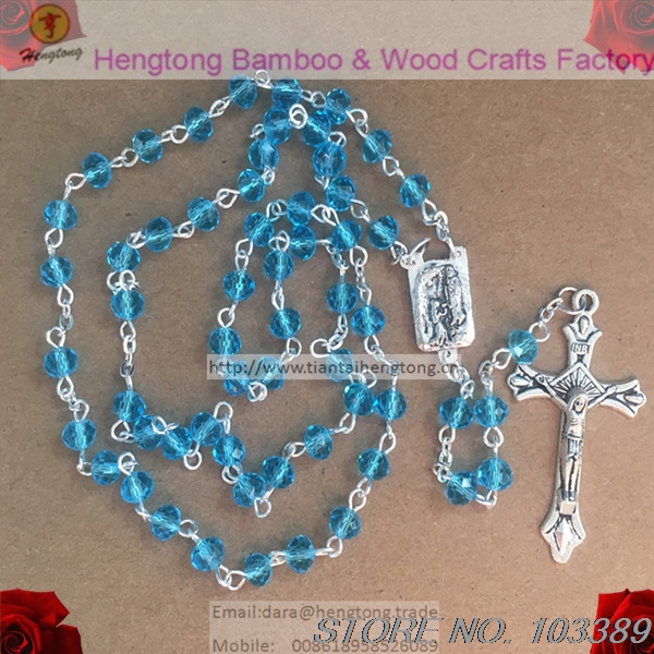 6*4mm pink sky blue facet crystal rosary necklace, religious rosary, jesus crucifix rosary with LADY FATIMA rosary center