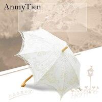 高品質ヴィンテージベージュ&ホワイトバッテンバーグレースパラソル傘用ウェディング&写真装飾