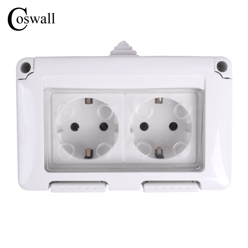 Coswall Waterproof Dust-proof Outdoor External Wall Power Socket, 16A Double EU Standard Electrical Outlet Grounded AC 110~250V