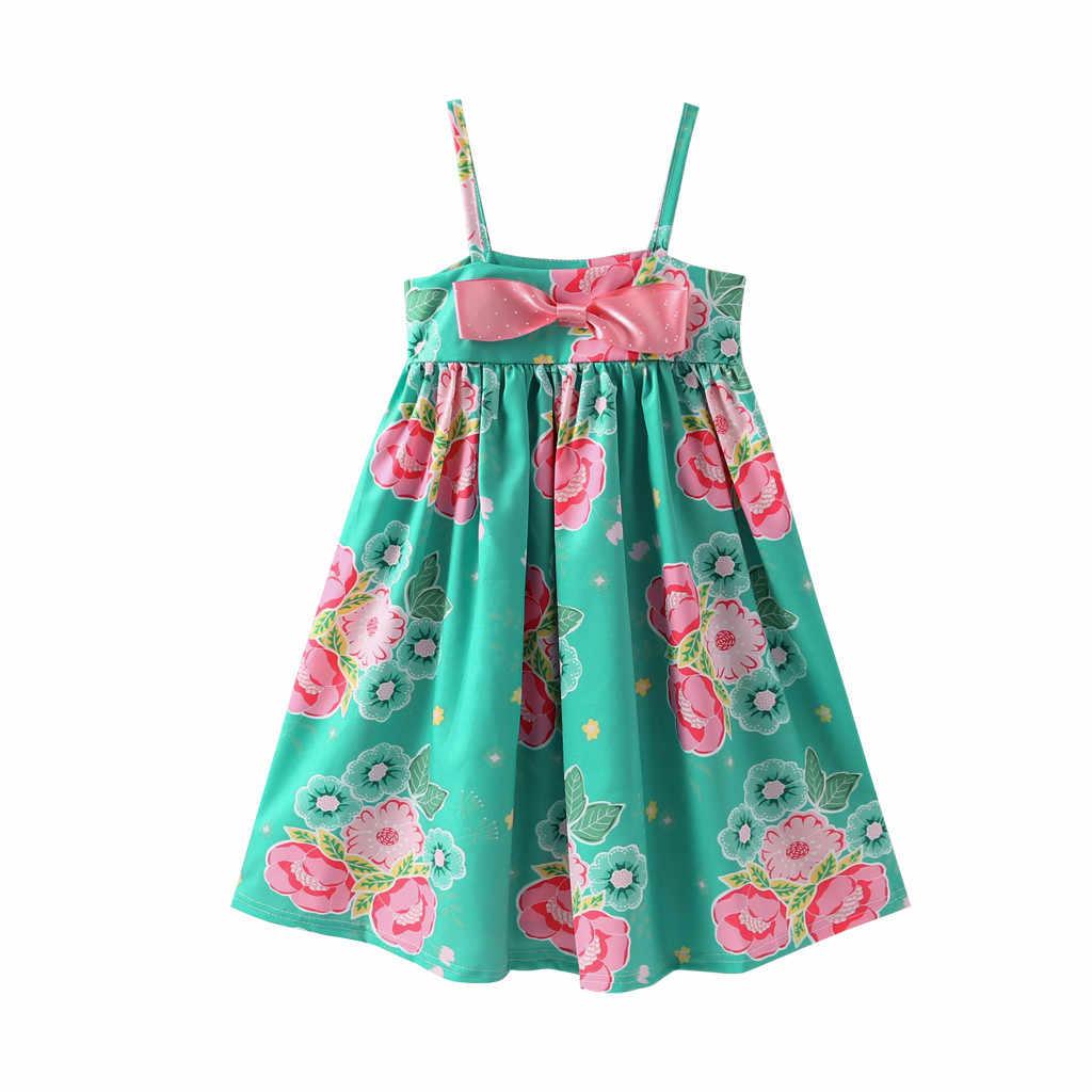 الصيف أزياء فتيات صغيرات يتدربن على المشي أكمام خارج الكتف Bowknot الأزهار طباعة اللباس الملابس فتاة تافهة عارية الذراعين تكدرت فساتين