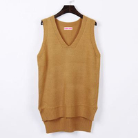2017 Fashion Spring Autumn Loose Sleeveless V Neck Knitted Vest Dress Women Sweater Top All Match