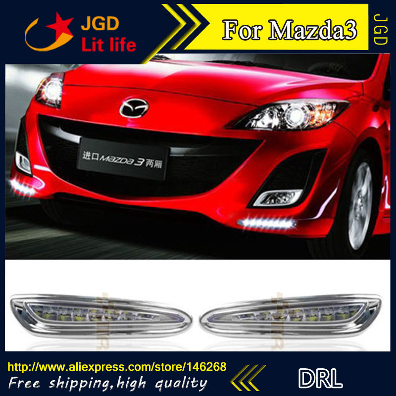 Free shipping ! 12V 6000k LED DRL Daytime running light for Mazda3 Mazda 3 2012 2013 fog lamp frame Fog light Car styling