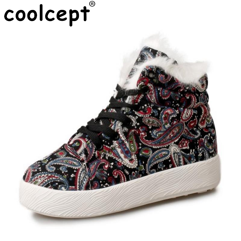 Coolcept Brand Design Winter Shoes Women Thick Fur Ankle Snow Boots Women Embroidery Flower Cross Tied Flat Botas Size 35-39 ankle black solid cross tied winter martain boots zipper design suede british style botas femeninas walkway casual shoes women