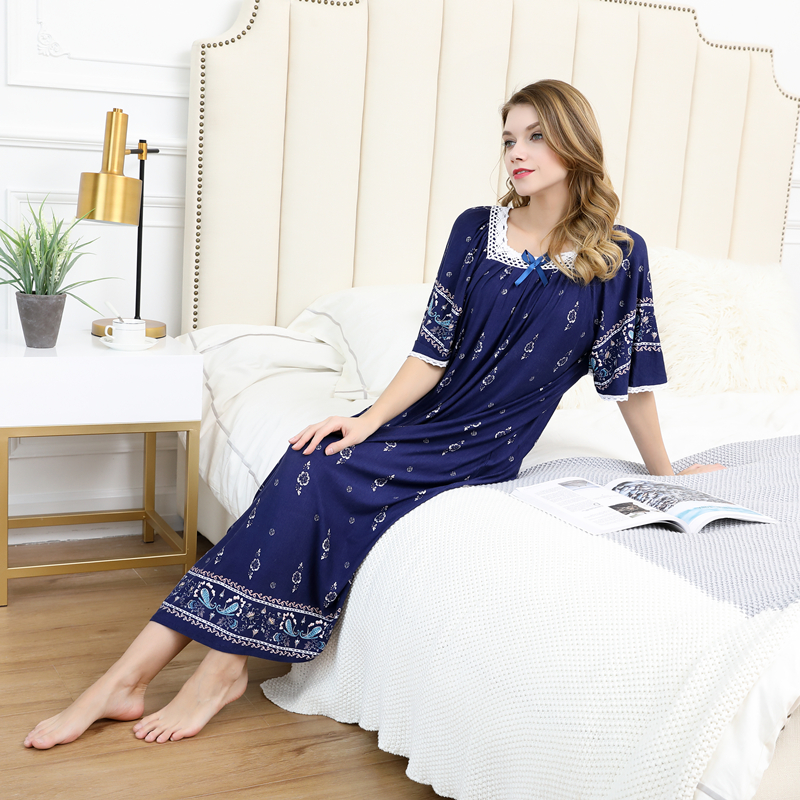 Summer women Sexy Modal cotton Pamjamas Sleepwear Night Dress Lace Long nightgowns skirts sleepwear plus size night dress 100kg 2