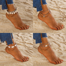 Bohemian Anklet for Women Fashion Wax String Lacing Foot Vintage Jewelry Beads Bracelet Beach