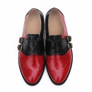 "Image 1 - פרה עור גדול אישה ארה""ב גודל 9 מעצב בציר שטוח נעלי בוהן עגול בעבודת יד שחור לבן אוקספורד נעליים לנשים 2020 אביב"