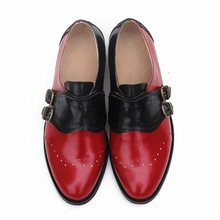Cow leather big woman US size 9 designer vintage flat shoes round toe handmade black white oxford shoes for women fur