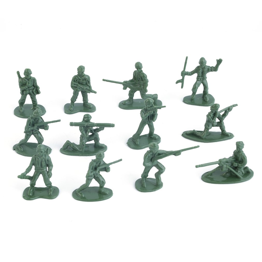 OCDAY 100pcs/Pack Military Plastic Toy Soldiers Army Men Figures 12 Poses Gift Action Figure Toys For Children New Sale