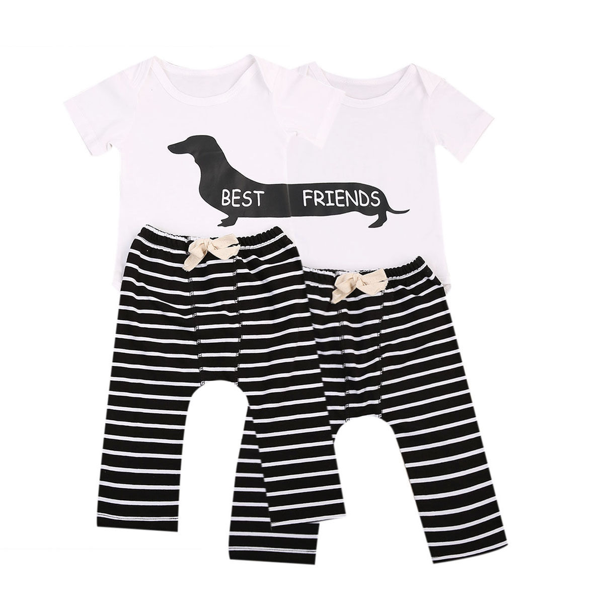 Best Frineds Letters Printing New Infant Baby 2Pcs Animal Bodysuit+Striped Pants Toddler Boy Girl Outfit 0-24M Clothing Set