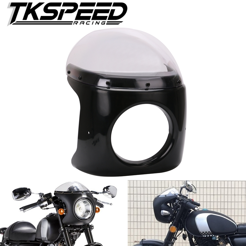 цена Motorcycle Retro Cafe Racer Style Headlight Handlebar Fairing with Screen Universal fit 7 inch Motorbike