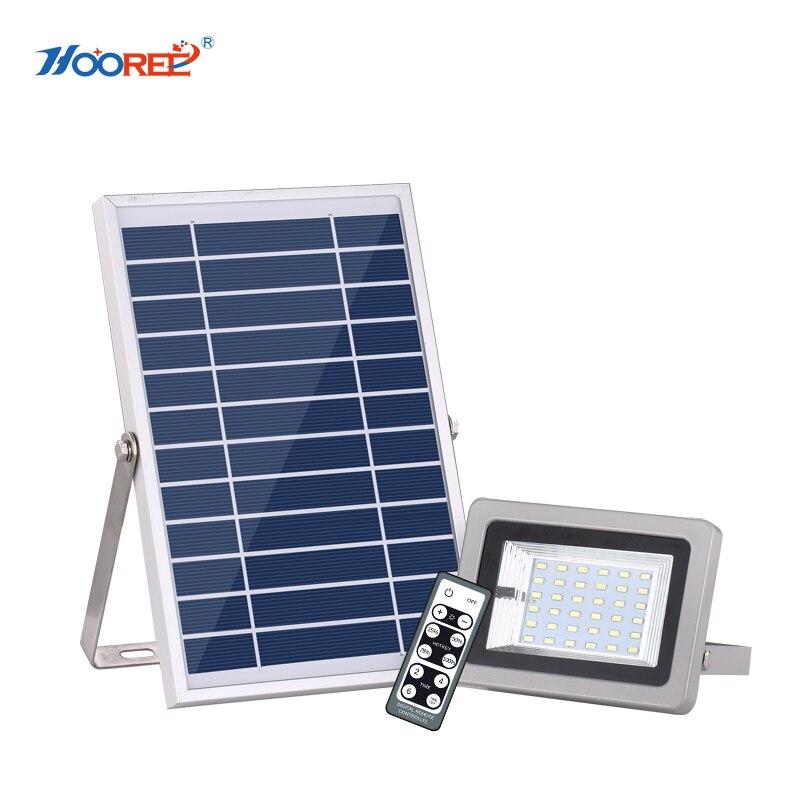 HOOREE 36 LED lumière solaire LFP batterie IR télécommande lampe solaire étanche IP65 extérieure en aluminium fonction de synchronisation de la lumière d'inondation