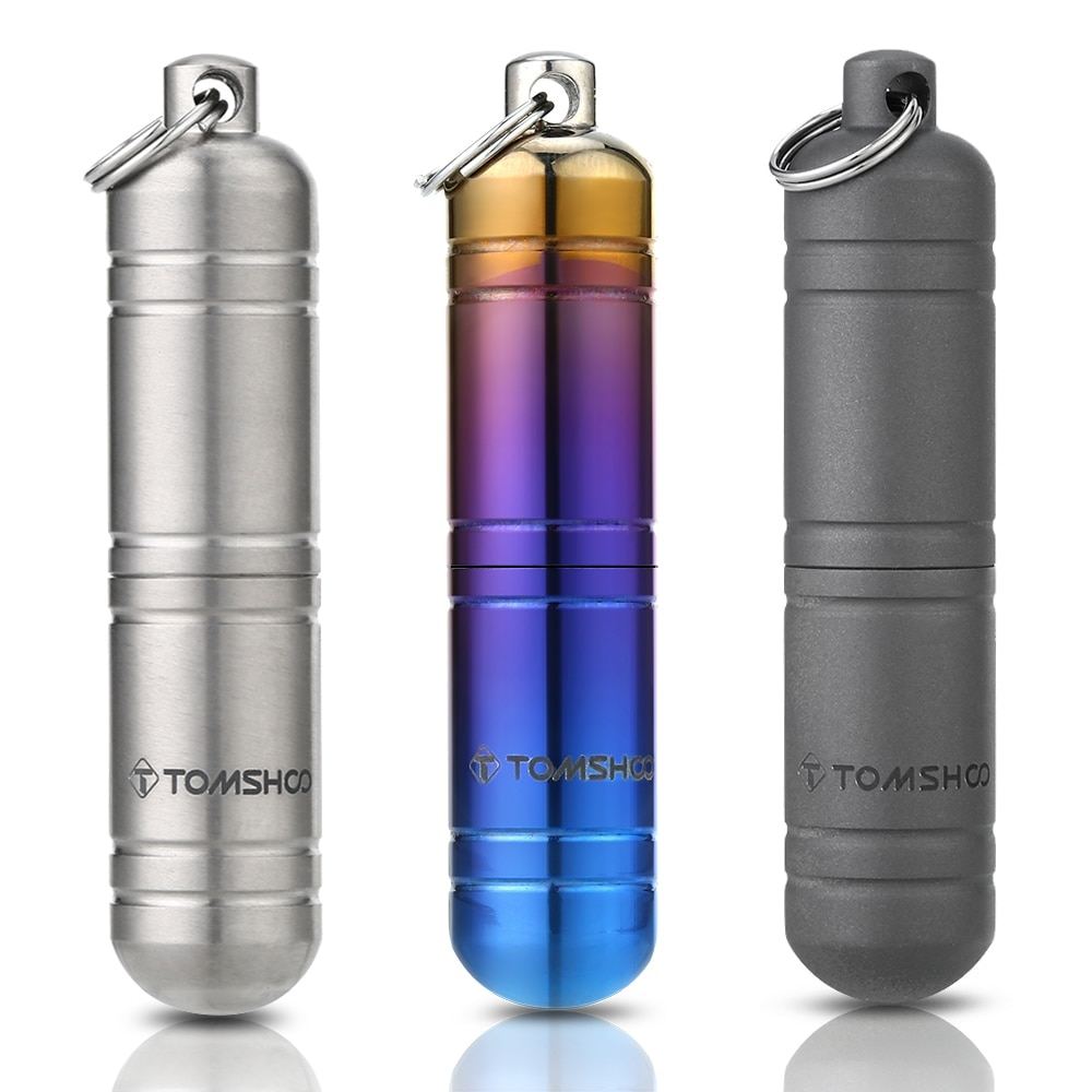 TOMSHOO Titanium EDC Container Waterproof  Pill Box Medicine Case Container Bottle Holder Keychain Camping Survival Travel Kit
