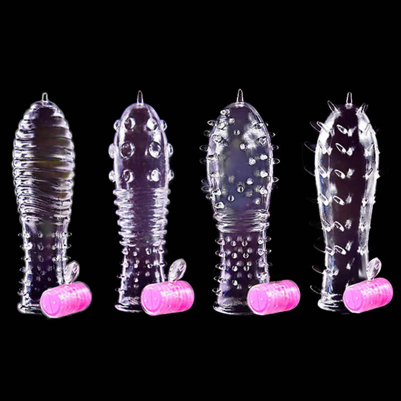 Adult Sex toys Reusable Condoms Men Spike Dotted Cock Condom vibrator Penis Sleeve Extender cockring Erotic Sex Toys for Couples
