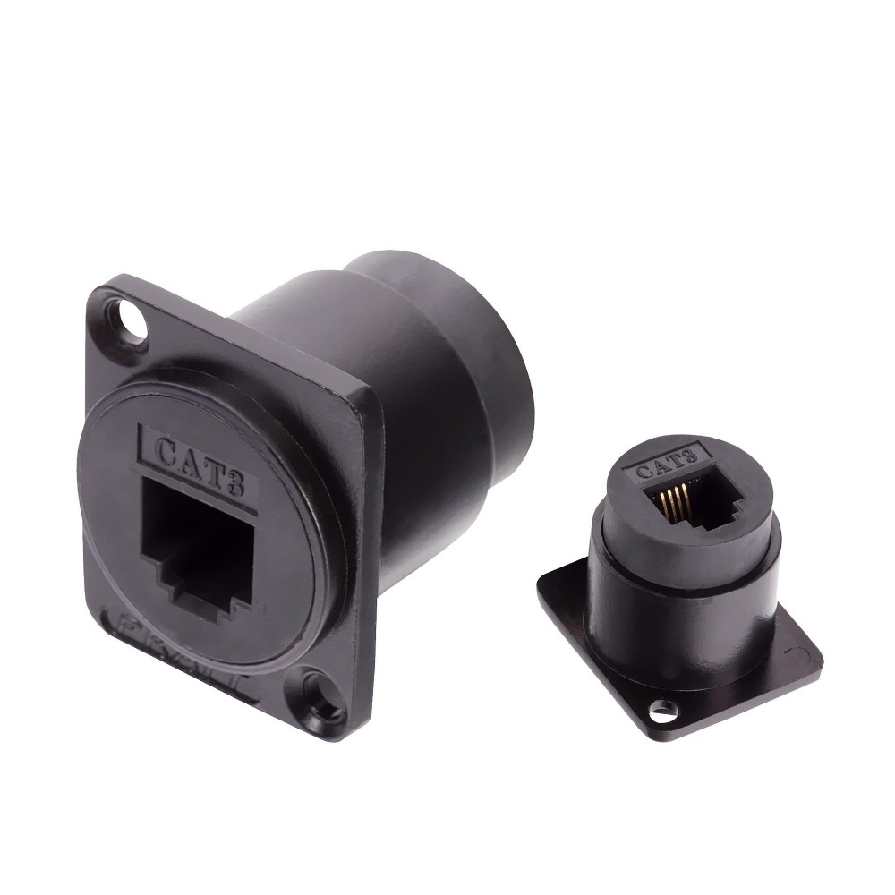 High Quality 2pcs/lot RJ11 4PIN Socket Chassis Panel Mount With Straight Through For D-Type Panel Telephone