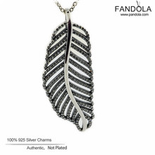 100% Sterling Silver Jewelry Light as a Feather Necklaces 925 Silver Clear CZ Pendant for Women Diy Necklaces & Pendants 45CM