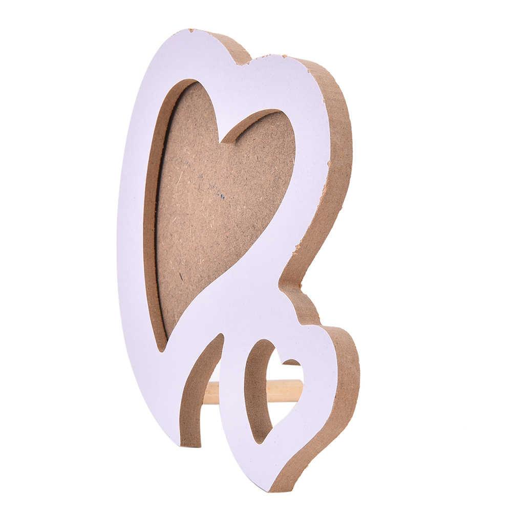 DIY Desk Set Wooden Family Photo Picture Frame Double Heart Shaped Photo Frame With Frame Bracket  Desk Decor Art