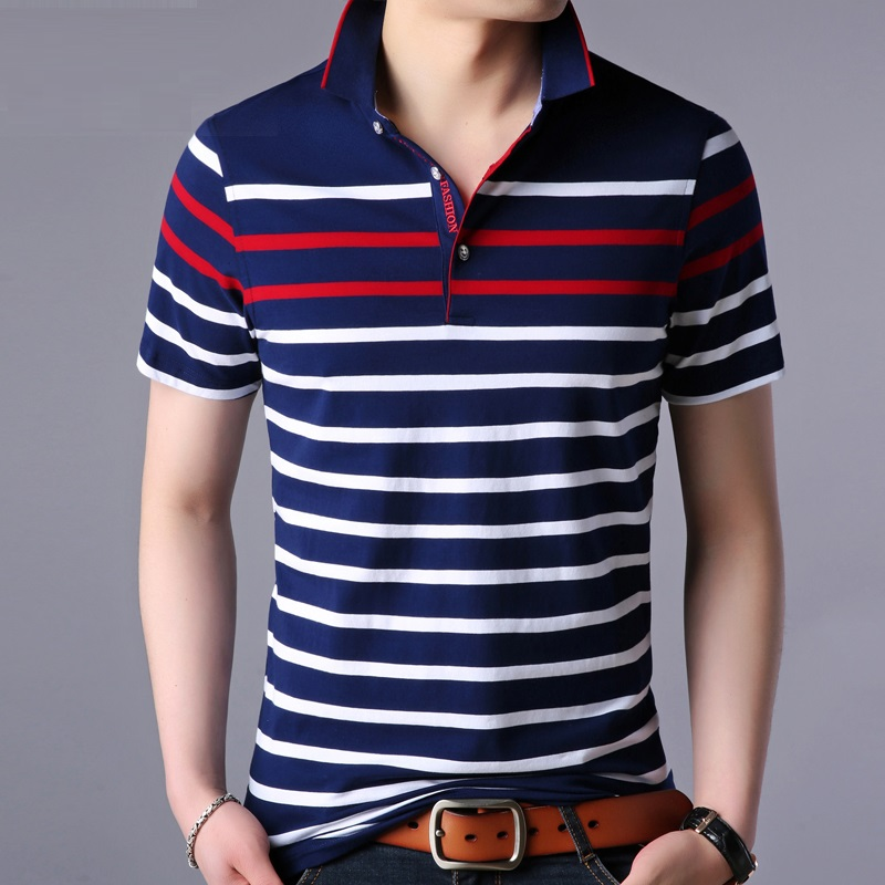 Polo   shirt men Striped Contrast Color   polos   homme soft material classical design
